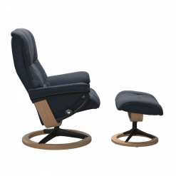 Stressless Mayfair Signature Chair with Footstool Paloma Oxford Blue and Oak Side