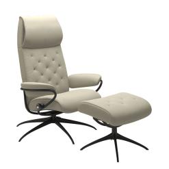 Stressless Metro High Back Chair Paloma Light Grey and Black