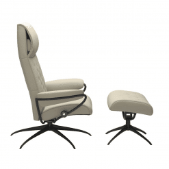 Stressless Metro High Back Chair Paloma Light Grey and Black Side