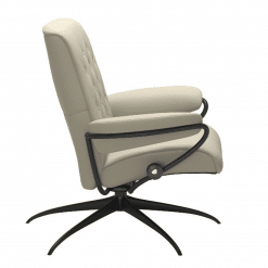 Stressless Metro Lowback Chair Paloma Light Grey and Black Side