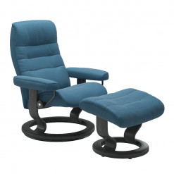 Stressless Opal Classic with Footstool Paloma Crystal Blue and Grey Wood