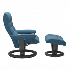 Stressless Opal Classic with Footstool Paloma Crystal Blue and Grey Wood Side