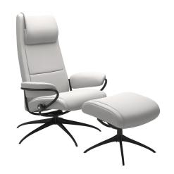 Stressless Paris High Back Chair Batick Snow and Matte Black