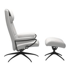 Stressless Paris High Back Chair Batick Snow and Matte Black Side