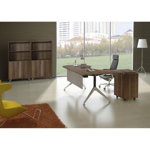 300 Series Executive Desk Walnut Lifestyle