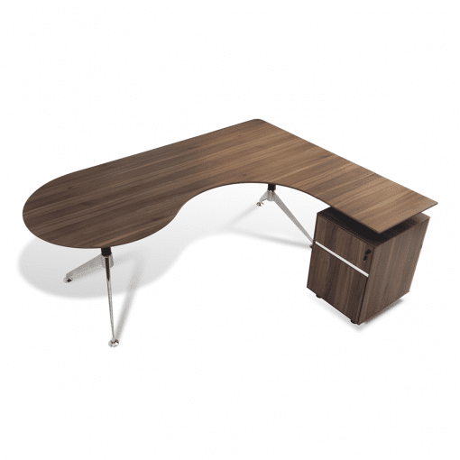 300 Series Executive Desk with Right Pedestal Walnut