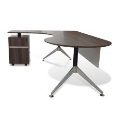 300 Series Executive Desk with left Pedestal Walnut side