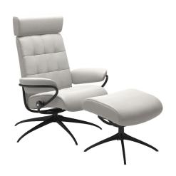 Stressless London Adjustable Headrest Cori Off White and Matte Black