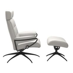 Stressless London Adjustable Headrest Cori Off White and Matte Black Side