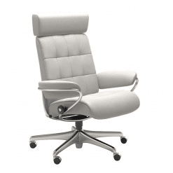 Stressless London Office Chair with Adjustable Headrest Cori Off White