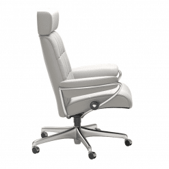 Stressless London Office Chair with Adjustable Headrest Cori Off White side