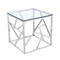living room carole end table polished steel