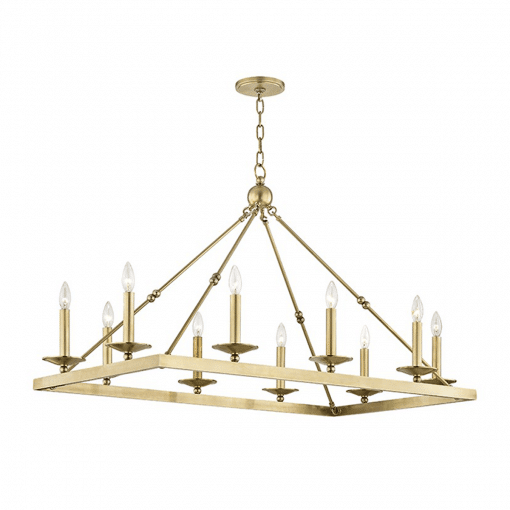 lighting allendale rectangular chandelier aged brass