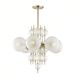 lighting calypso 6 light chandelier aged brass