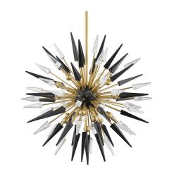 lighting sparta 12 light chandelier aged brass black accents