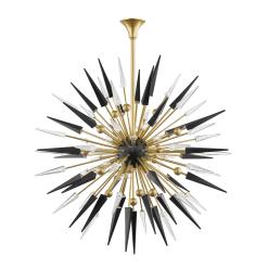 lighting sparta 18 light chandelier aged brass black accents