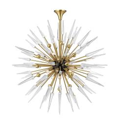 lighting sparta 18 light chandelier aged brass clear