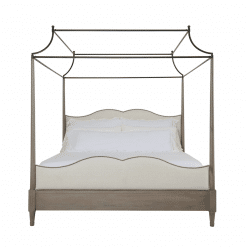 bedroom auberge poster with metal canopy bed front