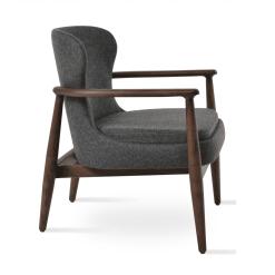 bonaldo lounge chair dark grey camira wool ash wood walnut side
