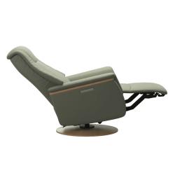 Stressless Max Power Chair Paloma Shadow Green and Oak Recline