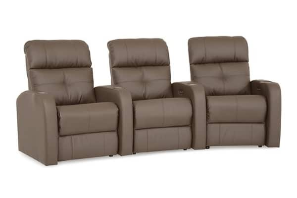 Image depicts the Audio Home Theatre 3 Seater from Modern Sense Furniture made with brown leather.
