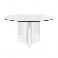 dining room abbott round polished stainless steel