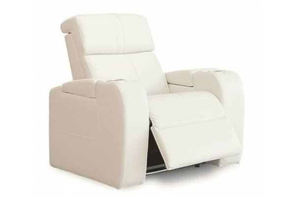 Image depicts the Flick Home Theatre Chair from Modern Sense Furniture made with white leather.