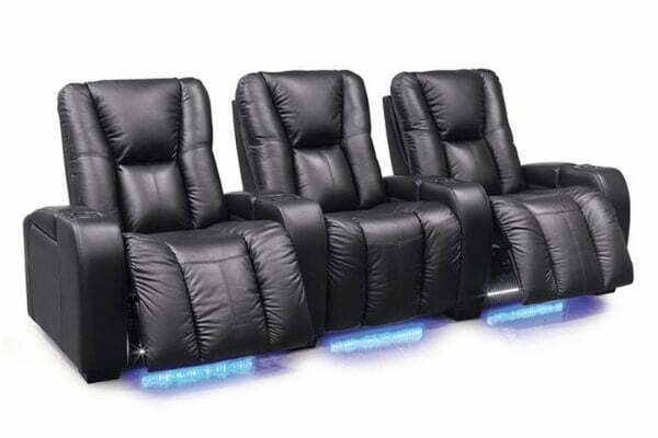 Image depicts the Media Home Theatre 3-Seater from Modern Sense Furniture made with black leather.