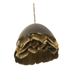 Ruffle Chandelier in Black and Brass angle