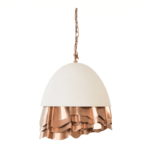 Ruffle Chandelier in White and Copper