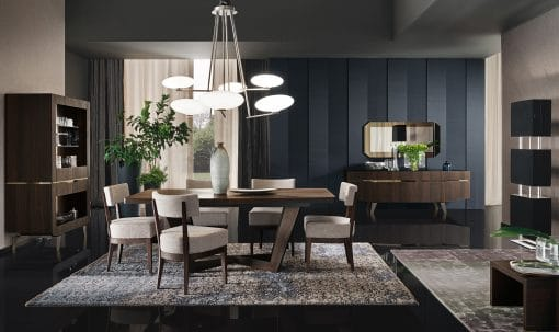 Image depicts a dining room with modern furniture.