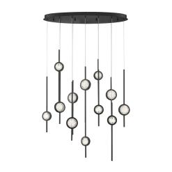 Barletta 12 Lt chandelier in black