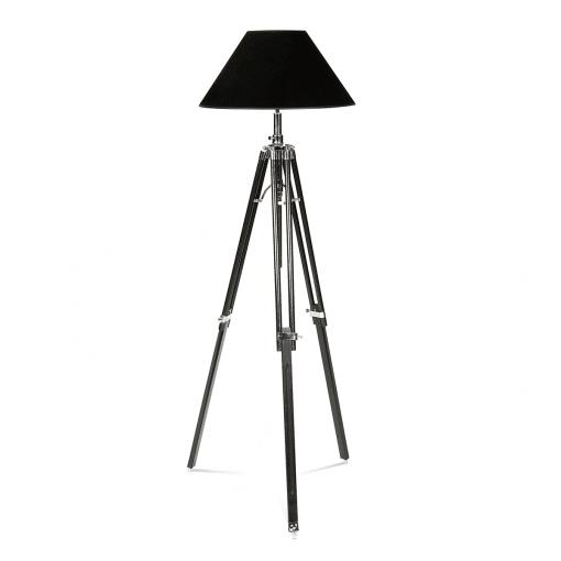 Nectaire Floor Lamp in Black Base Nickel Finish and Black Velvet Shade