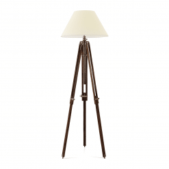 Nectaire Floor Lamp in Brown Base Antique Brass Finish and Cream Shade