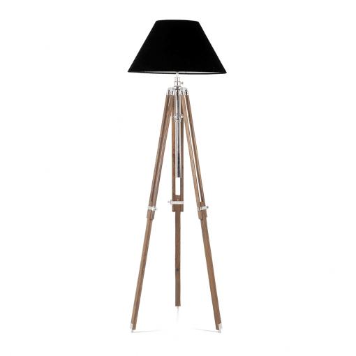 Nectaire Floor Lamp in Brown Base Nickel Finish and Black Velvet Shade