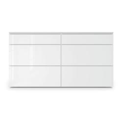 Bedford Dresser in White Glass