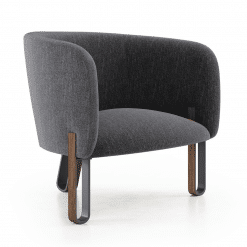 Cannon Lounge Chair in Dark Shadow Fabric Angle