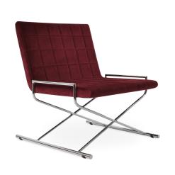 Chelsea X Lounge Chair in Cherry Velvet and Chrome
