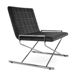 Chelsea X Lounge Chair in Grey Velvet and Chrome