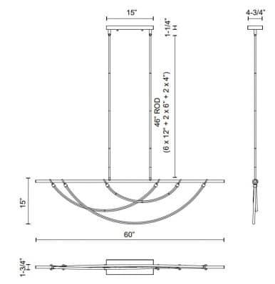 Aryas W Linear Pendant Dimensions