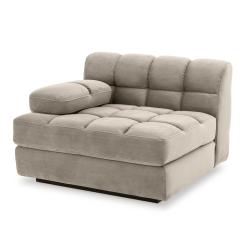 Britannia Left Side Sofa Seat in Savona Greige Velvet