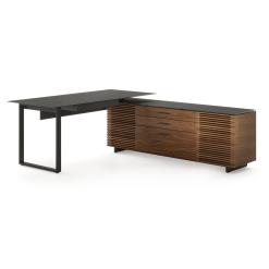 Corridor L Shaped Office Desk in Natural Walnut
