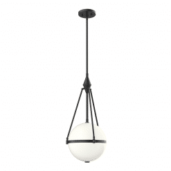 Harmony W Pendant in Matte Black and Opal Glass