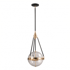 Harmony W Pendant in Natural Brass and Water Glass