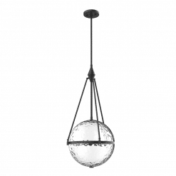 Harmony W Pendant in Matte Black and Water Glass
