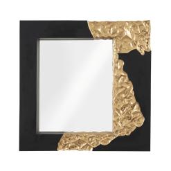 Mercury Square Mirror in Black and Gold