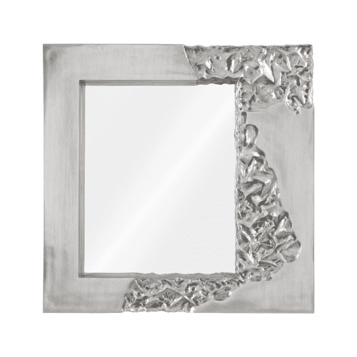 Mercury Square Mirror in Silver Leaf