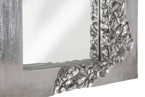 Mercury Square Mirror in Silver Leaf Details