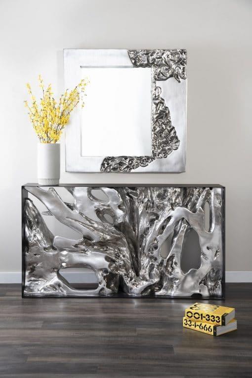 Mercury Square Mirror in Silver Leaf Liveshot