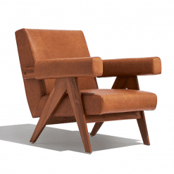 Pierre J Lounge Arm Chair Soft UPH in Hazelnut PPM S and Solid Ash Walnut Frame